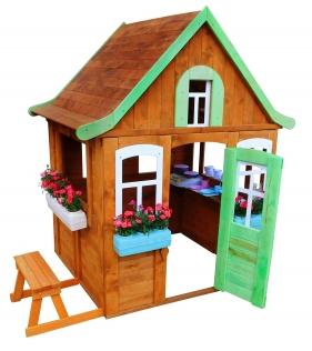 Детский домик Цветочный c кухней и цветочницами