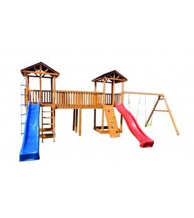 Детская площадка 6 крыша тент с качелями и узким скалодромом