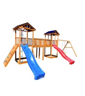 Детская площадка 6 крыша тент с качелями и широким скалодромом