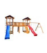 Детская площадка Спортивный городок 6 крыша тент с качелями и узким скалодромом...